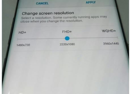Màn hình vô cực với tính năng tùy chỉnh độ phân giải trên S8 và S8 Plus