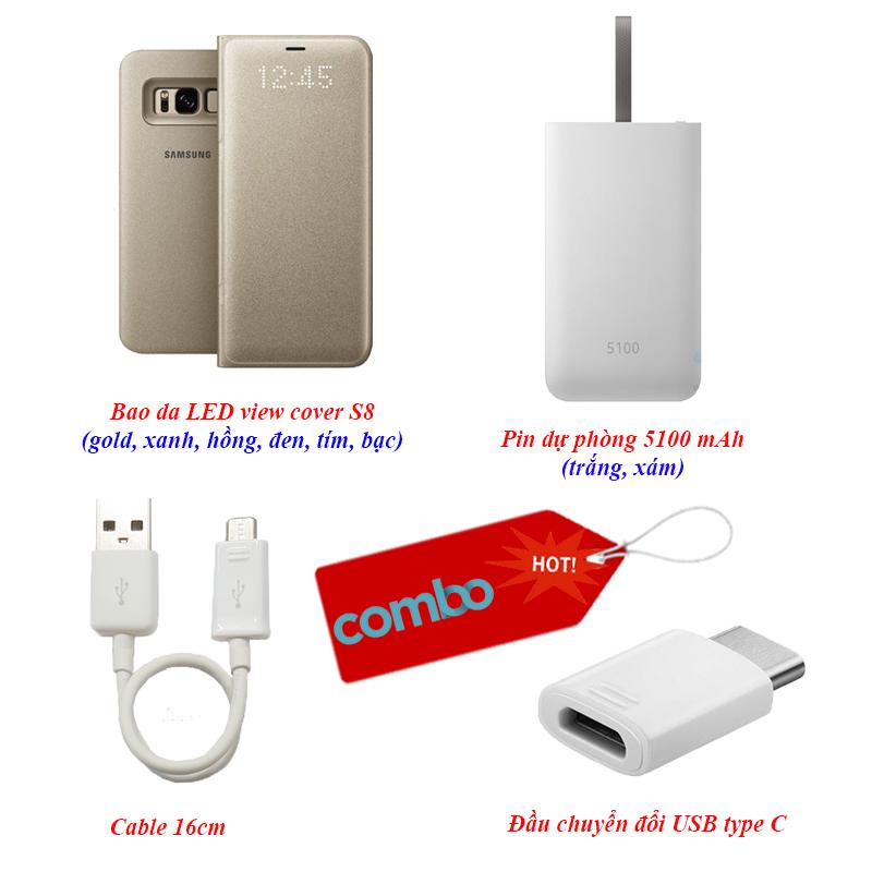 """""""Combo Hot 1"""" bao da S8, pin dự phòng, cable 16cm và đầu chuyển đổi USB type C"""
