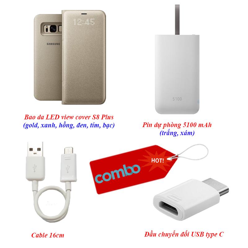 """""""Combo Hot 1"""" bao da S8 Plus, pin dự phòng, cable 16cm và đầu chuyển đổi USB type C"""
