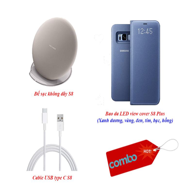 """""""Combo Hot 2"""" bao da S8 Plus, sạc không dây S8 và cable type C 1.5m"""