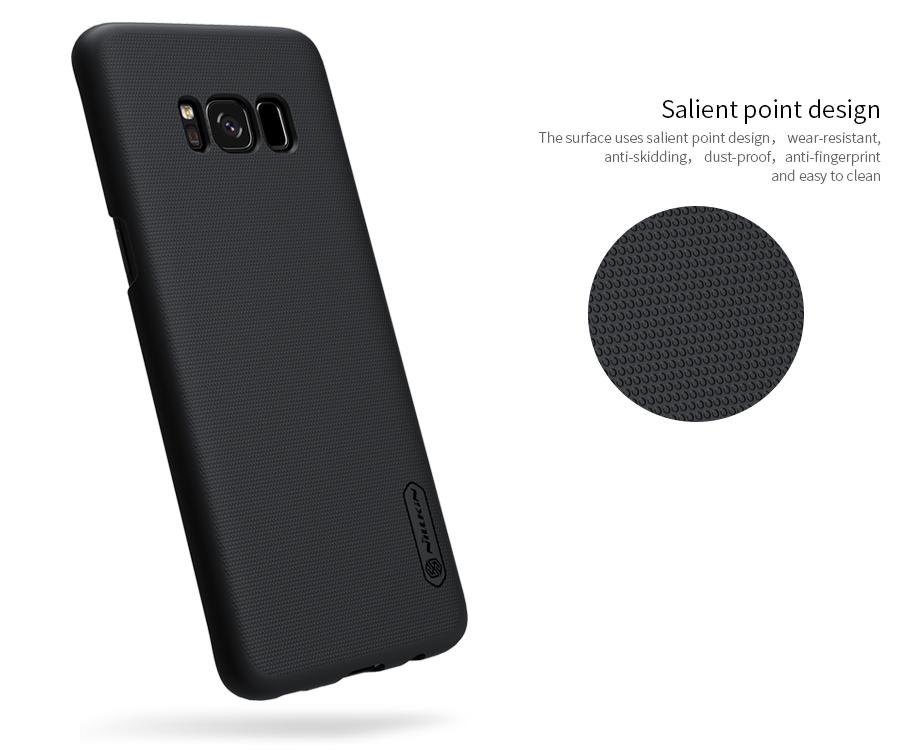 Bề mặt ốp lưng Samsung S8 Nillkin được làm sần chống vân tay, mồ hôi và bụi