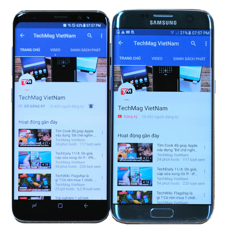 Thông tin hiển thị trên S8 và S7 EDGE