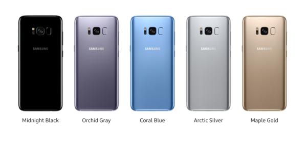 các màu sắc trên phiên bản Samsung Galaxy S8, S8 Plus chính hãng