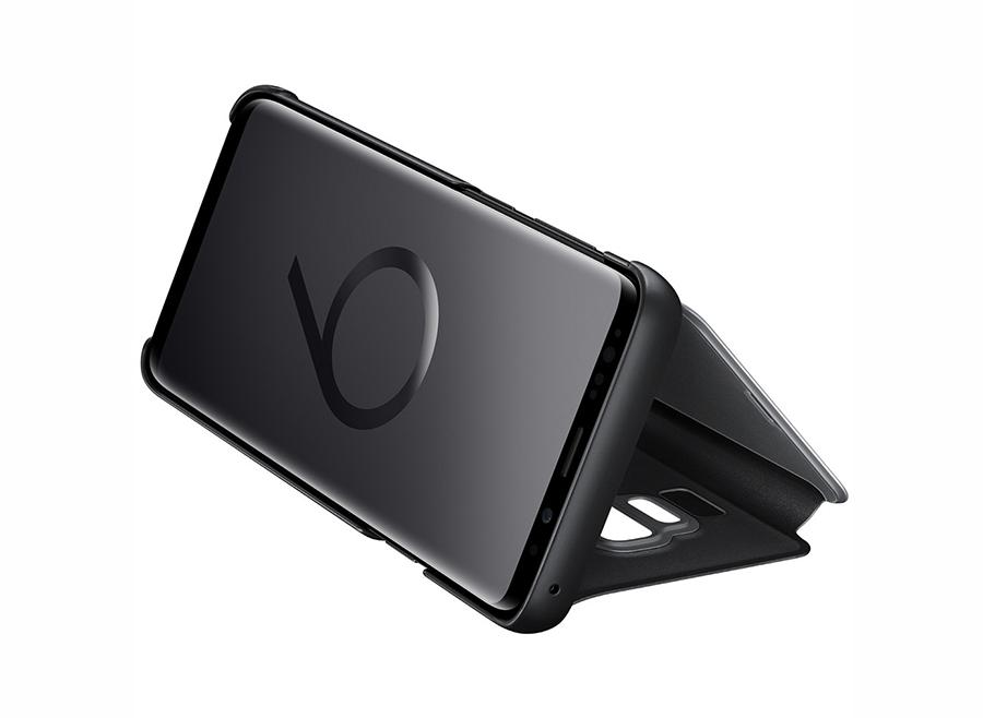 Bao da Clear View S9 có thể gập lại tạo đế dựng máy khi bạn muốn xem phim, nghe nhạc mà không phải cầm máy