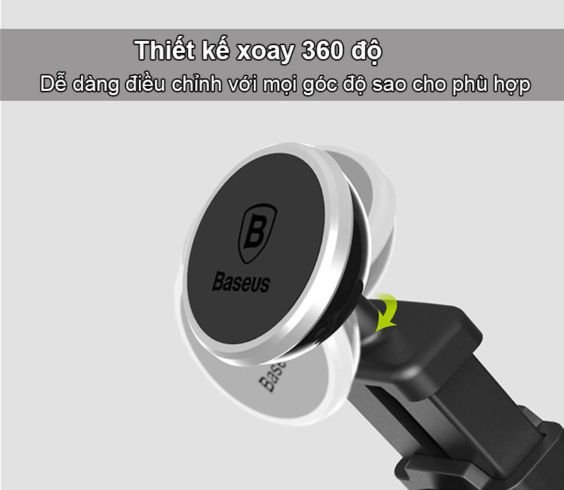 Giá đỡ điện thoại trên oto hiệu Baseus xoay 360 độ