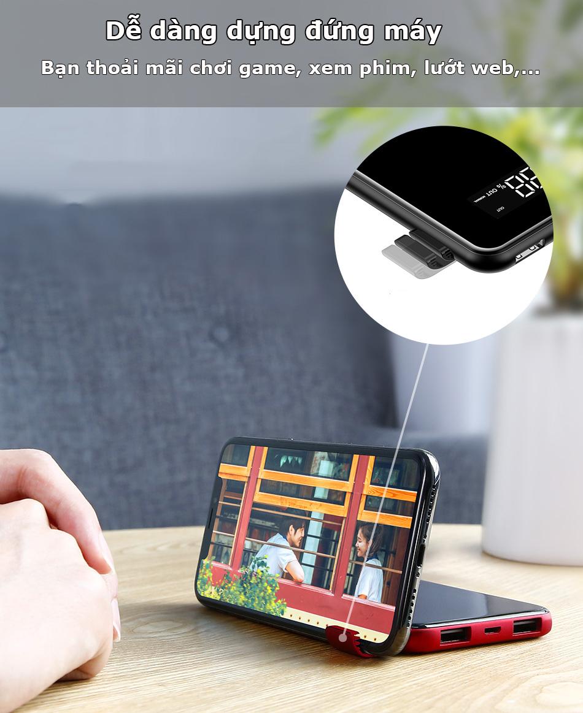 Pin dự phòng sạc không dây Baseus 8000 mAh có thể tạo giá đỡ điện thoại